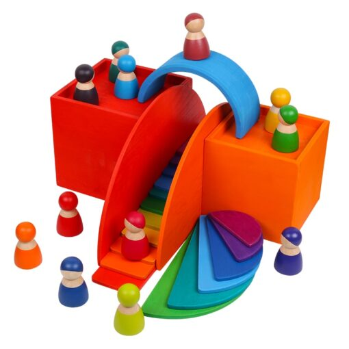 Baby Toys Large Rainbow Stacker Wooden Toys For Kids Creative Rainbow Building Blocks Montessori Educational Toy 4