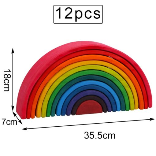 Baby Toys Large Rainbow Stacker Wooden Toys For Kids Creative Rainbow Building Blocks Montessori Educational Toy 5
