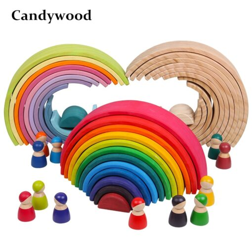 Baby Toys Large Rainbow Stacker Wooden Toys For Kids Creative Rainbow Building Blocks Montessori Educational Toy