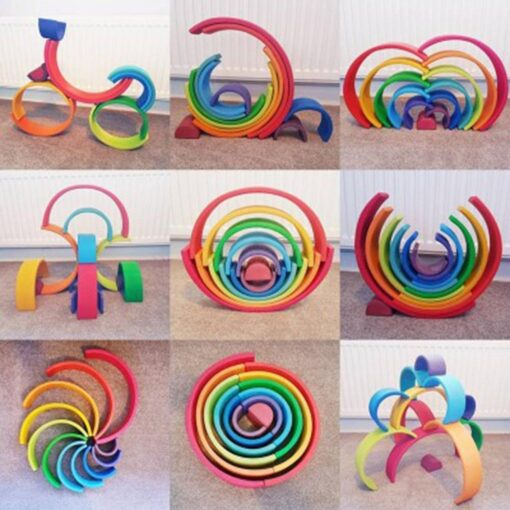 Baby Toys Large size Rainbow Building Blocks Wooden Toys For Kids Creative Rainbow Stacker Montessori Educational 5