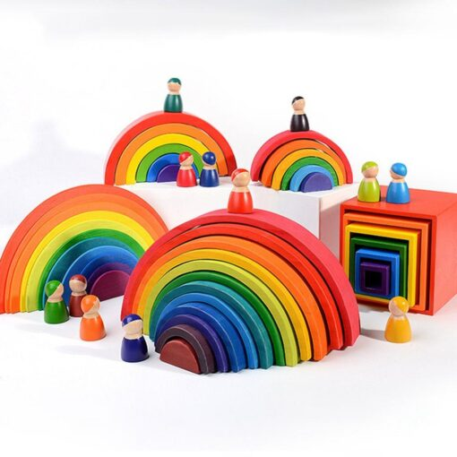 Baby Toys Large size Rainbow Building Blocks Wooden Toys For Kids Creative Rainbow Stacker Montessori Educational