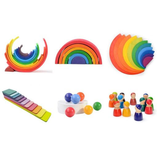 Baby Toys Large size Rainbow Building Blocks Wooden Toys For Kids Creative Rainbow Stacker Montessori Educational 9