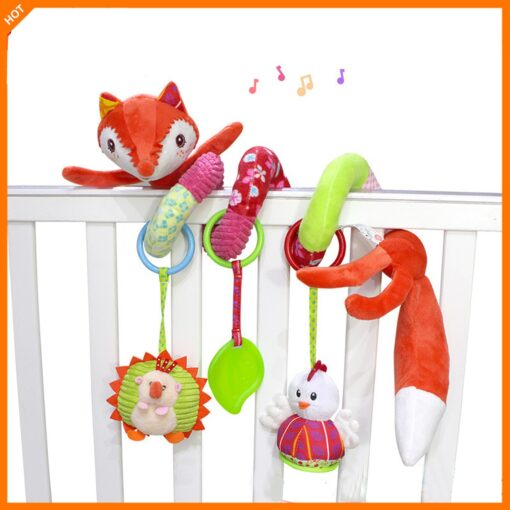 Baby Toys Rattles Soft Stroller Car Seat Activity Toy with Rattle Teether Mirror Fox Plush Spiral 1