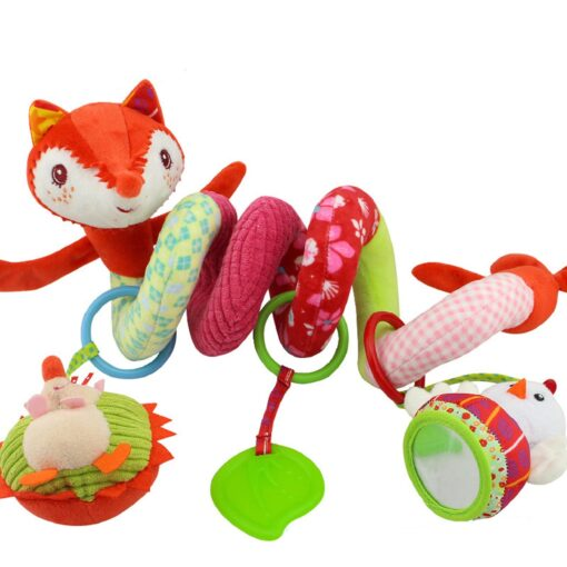 Baby Toys Rattles Soft Stroller Car Seat Activity Toy with Rattle Teether Mirror Fox Plush Spiral 3