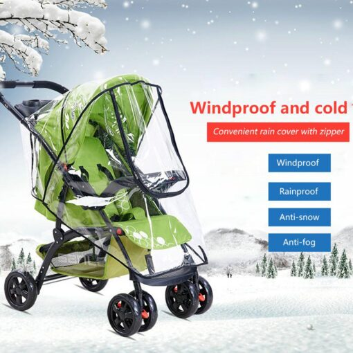 Baby Transparent Waterproof Stroller Rain Cover Wind Dust Shield Zipper Open For Baby Pushchairs Strollers Raincoat 1