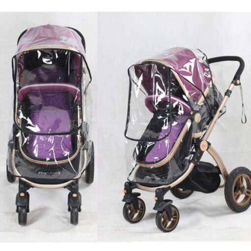 Baby Transparent Waterproof Stroller Rain Cover Wind Dust Shield Zipper Open For Baby Pushchairs Strollers Raincoat 2