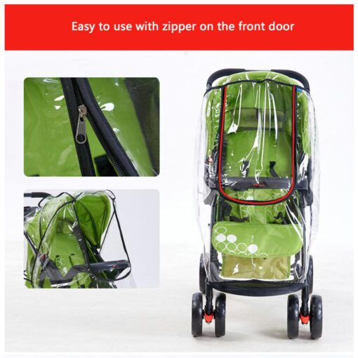 Baby Transparent Waterproof Stroller Rain Cover Wind Dust Shield Zipper Open For Baby Pushchairs Strollers Raincoat 3