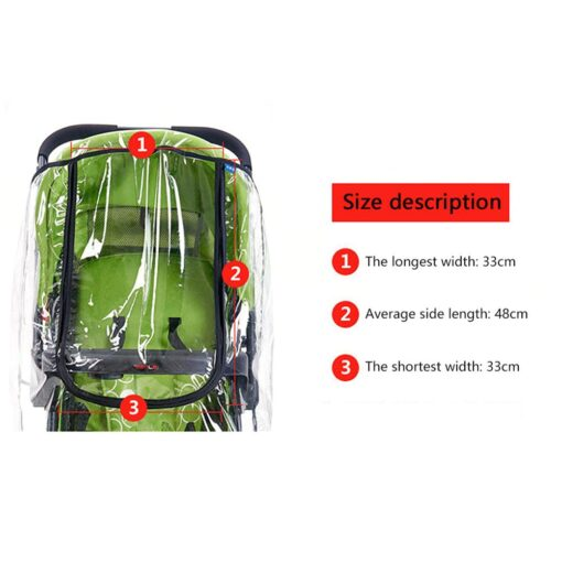 Baby Transparent Waterproof Stroller Rain Cover Wind Dust Shield Zipper Open For Baby Pushchairs Strollers Raincoat 4