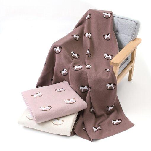 Baby Trojan Blankets Girls Boys Stroller Monthly Blanket Newborn Knitted Cotton Kids Spring Swaddle Cobertor Infantil