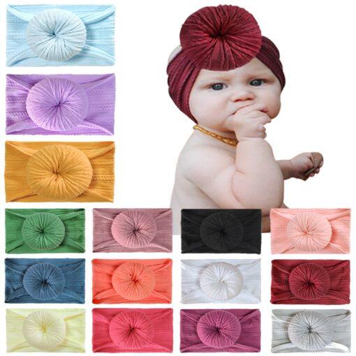 Baby Turban Hat with Bow Children Hats Cotton Blend Newborn Beanie Top Knot Caps Kids Photo