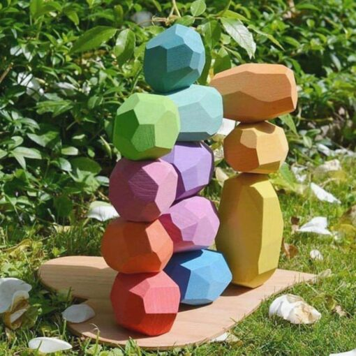 Baby Wooden Colored Stone Jenga Building Blocks Educational Toy Creative Nordic Style Stacking Game Rainbow Wooden 2