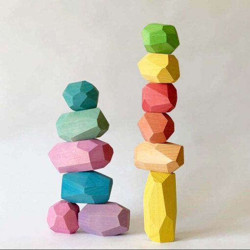 Baby Wooden Colored Stone Jenga Building Blocks Educational Toy Creative Nordic Style Stacking Game Rainbow Wooden 3