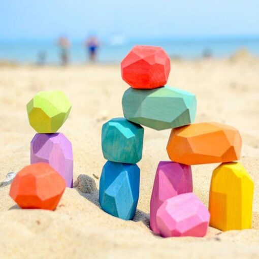 Baby Wooden Colored Stone Jenga Building Blocks Educational Toy Creative Nordic Style Stacking Game Rainbow Wooden