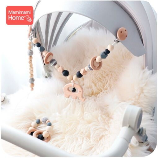 Baby Wooden Teether 1set Pram Clip Beech Rodent Gym Play Personalized Name Pacifier Chain Chewable Bracelet 3