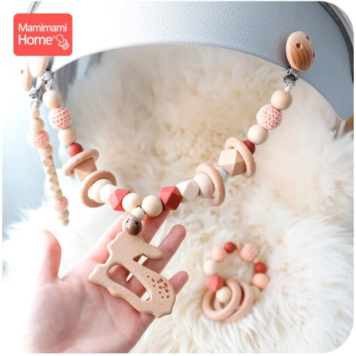 Baby Wooden Teether 1set Pram Clip Beech Rodent Gym Play Personalized Name Pacifier Chain Chewable Bracelet 5