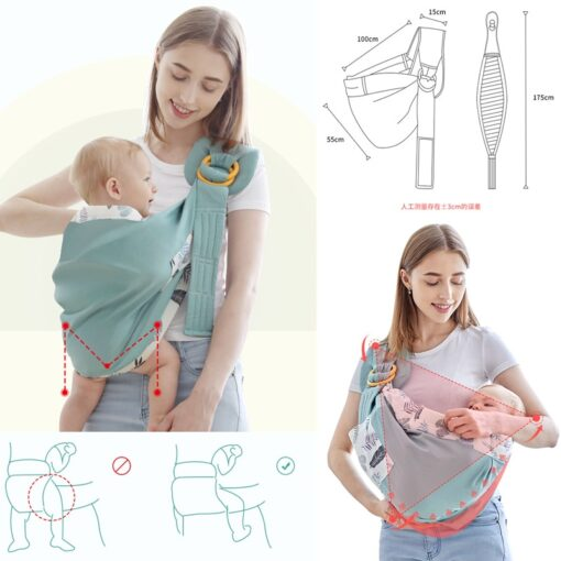 Baby Wrap Newborn Sling Dual Use Infant Nursing Cover Carrier Mesh Fabric Breastfeeding Carriers Up To 7