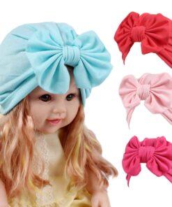 Baby hat Girls Boho Bow tie Beanie Scarf Turban Head Wrap Cap winter hats for kids