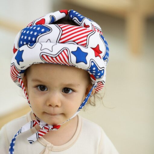 Baby s Hat Head Protector Crash Proof Fall Proof All Cotton Breathable Adjustable Infant Walking Helmet 2