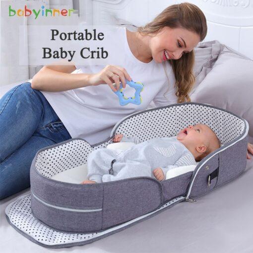 Babyinner Portable Baby Crib Mummy Bag Infant Nest Cradle Folding Newborn Travel Bed In Bed Cot