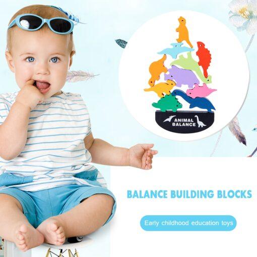 Balance Game Montessori Blocks 12 Animals Kids Balancing Building Blocks Educational Toy Assemble Toy Games Jigsaw 1