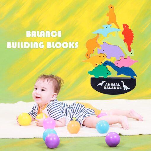Balance Game Montessori Blocks 12 Animals Kids Balancing Building Blocks Educational Toy Assemble Toy Games Jigsaw 3