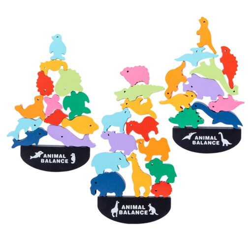 Balance Game Montessori Blocks 12 Animals Kids Balancing Building Blocks Educational Toy Assemble Toy Games Jigsaw