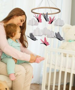 Beautiful Simple Baby Crib Room Decoration Mobile Butterflies In The White Clouds Baby Ceiling Hanging Nursery 1