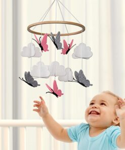 Beautiful Simple Baby Crib Room Decoration Mobile Butterflies In The White Clouds Baby Ceiling Hanging Nursery