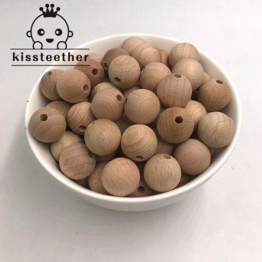 Beech Wooden Chewable 10 20mm Round Beads Ecofriendly Beech Beads DIY Craft Jewelry Accessories Baby Teether 1