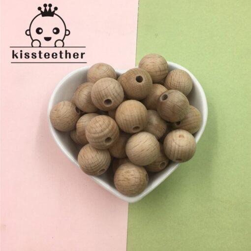 Beech Wooden Chewable 10 20mm Round Beads Ecofriendly Beech Beads DIY Craft Jewelry Accessories Baby Teether 3