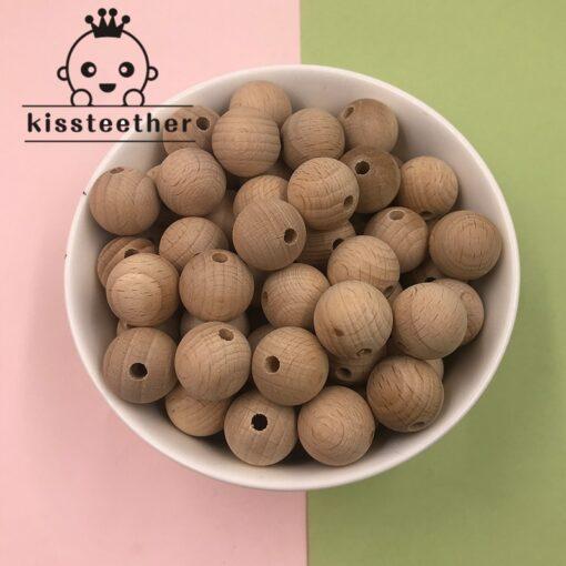 Beech Wooden Chewable 10 20mm Round Beads Ecofriendly Beech Beads DIY Craft Jewelry Accessories Baby Teether