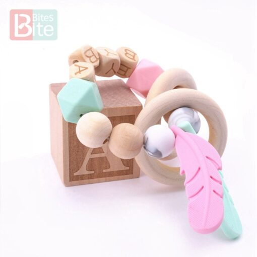 Bite Bites 1PC Food Grade Silicone Feather Teether Chewing Custom Bracelets Baby Care Products Wooden Teething 1