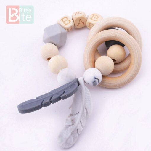 Bite Bites 1PC Food Grade Silicone Feather Teether Chewing Custom Bracelets Baby Care Products Wooden Teething 2