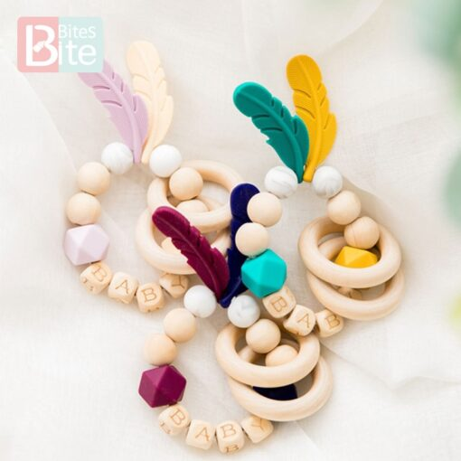 Bite Bites 1PC Food Grade Silicone Feather Teether Chewing Custom Bracelets Baby Care Products Wooden Teething 3