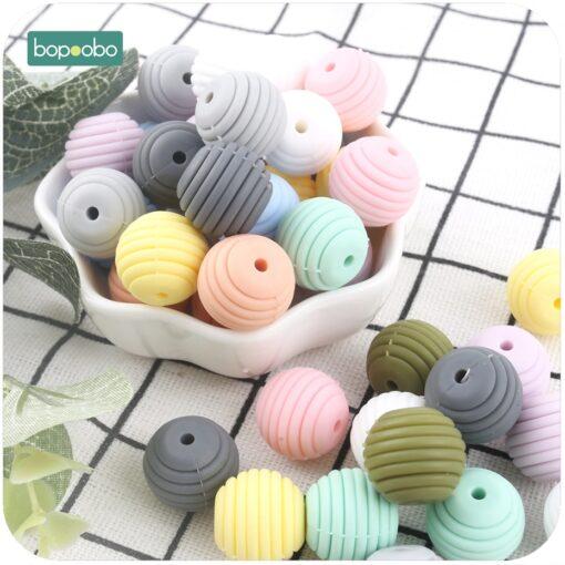 Bopoobo 10pcs Silicone Beads Baby Teething Round Spiral Beads Food Grade Beads 15mm DIY Threaded BPA