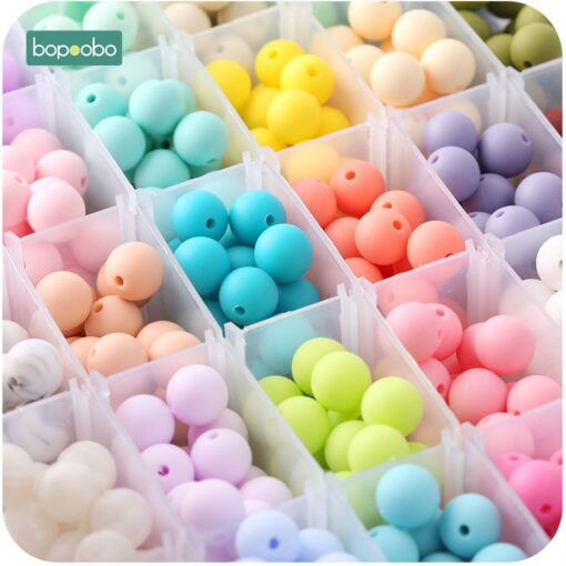 Bopoobo 15mm 10pc Silicone Beads Food Grade Silicone Baby Teething Products Chews Pacifier Chain Clips Beads 3