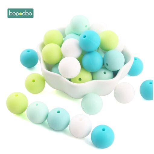 Bopoobo 15mm 10pc Silicone Beads Food Grade Silicone Baby Teething Products Chews Pacifier Chain Clips Beads 4