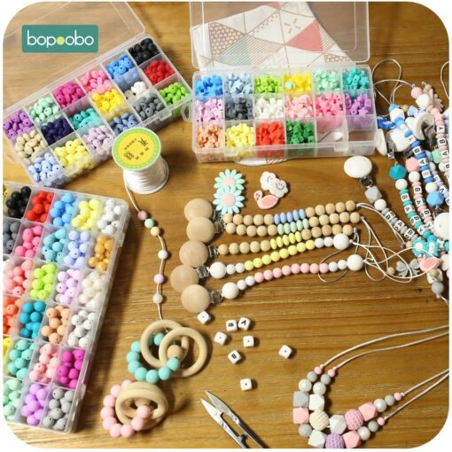 Bopoobo 15mm 10pc Silicone Beads Food Grade Silicone Baby Teething Products Chews Pacifier Chain Clips Beads 5