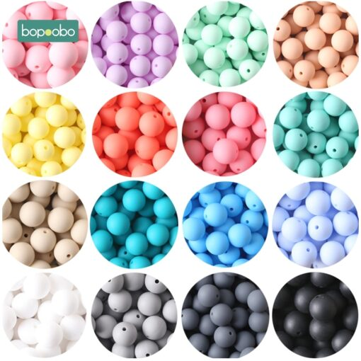Bopoobo 15mm 10pc Silicone Beads Food Grade Silicone Baby Teething Products Chews Pacifier Chain Clips Beads