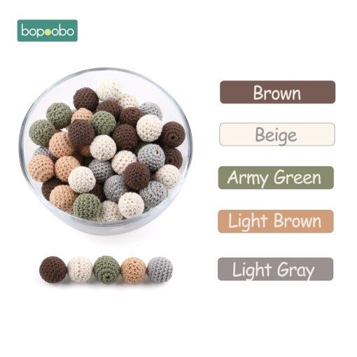 Bopoobo 20mm 10pcs Wooden Crochet Beads Chewable Beads DIY Wooden Teething Knitting Beads Jewelry Crib Sensory 4