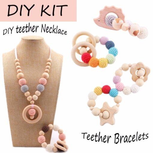 Bopoobo 20mm 10pcs Wooden Crochet Beads Chewable Beads DIY Wooden Teething Knitting Beads Jewelry Crib Sensory 5