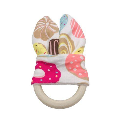 Boy Bunny Ear Teether Safe Organic Wood Teething Ring Fish Plaid Color Choice Shower Gift 1