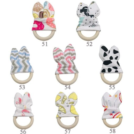 Boy Bunny Ear Teether Safe Organic Wood Teething Ring Fish Plaid Color Choice Shower Gift