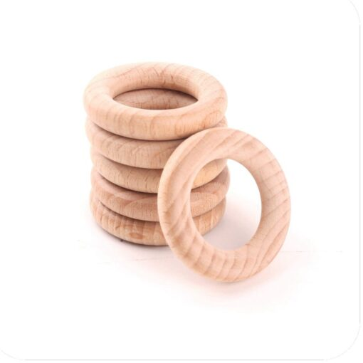 Bpa Free 5Pcs 40 54 70 80mm Beech Wooden Ring Baby Teether Teething Ring Round Ring 2