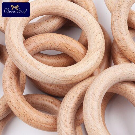 Bpa Free 5Pcs 40 54 70 80mm Beech Wooden Ring Baby Teether Teething Ring Round Ring 5