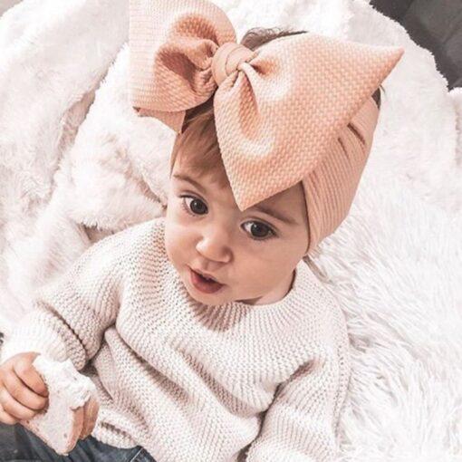 Brand New Newborn Toddler Baby Girls Head Wrap Rabbit Big Bow Knot Turban Headband Hair Accessories 3