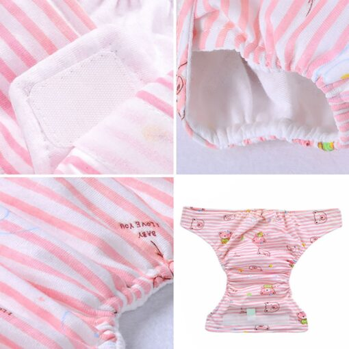 Breathable Newborn Diaper Baby Adjustable Washable Reusable Soft Cotton Nappy Cover Cloth Diaper Waterproof Magic Tape 3