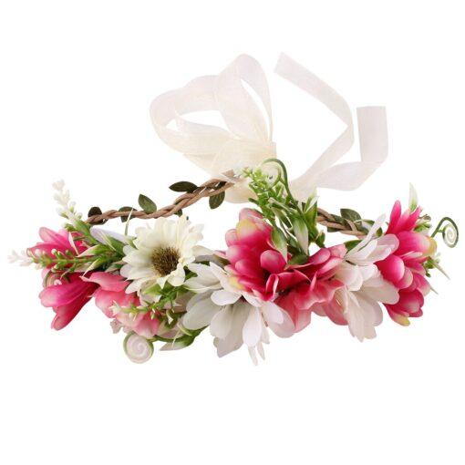 Bride Women Flower Crown Hair Band Wedding Floral Headband Garland Ribbon Bow Girl Flower Wreath Elastic 6