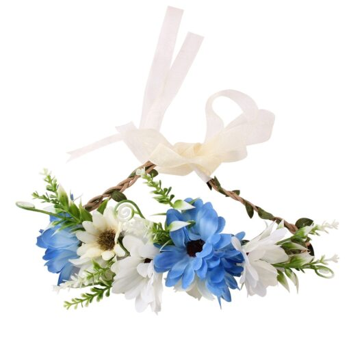Bride Women Flower Crown Hair Band Wedding Floral Headband Garland Ribbon Bow Girl Flower Wreath Elastic 7