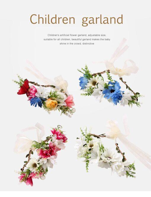Bride Women Flower Crown Hair Band Wedding Floral Headband Garland Ribbon Bow Girl Flower Wreath Elastic 9